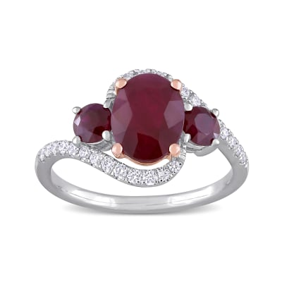 2.80 ct. t.w. Ruby and .24 ct. t.w. Diamond Ring in 14kt Two-Tone Gold