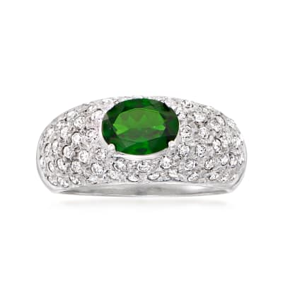 C. 1980 Vintage 1.15 Carat Green Chrome Diopside and 1.20 ct. t.w. Diamond Ring in 14kt White Gold