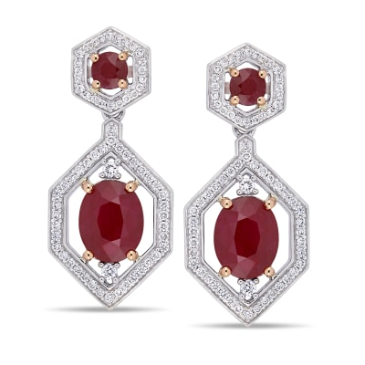 4.90 ct. t.w. Ruby and .62 ct. t.w. Diamond Drop Earrings in 14kt White Gold with 14kt Rose Gold