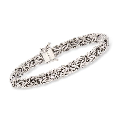 Sterling Silver Byzantine Bracelet with Magnetic Clasp