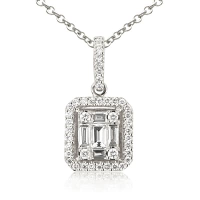 .49 ct. t.w. Baguette and Round Diamond Rectangular Pendant Necklace in 18kt White Gold