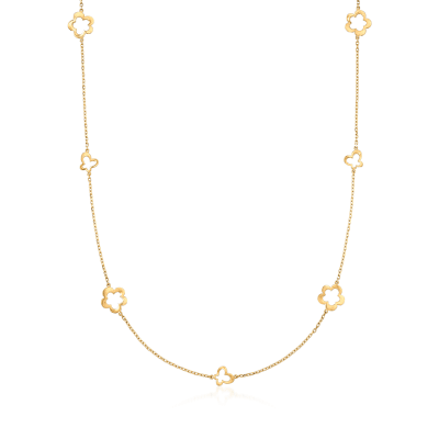 Italian 14kt Yellow Gold Butterfly and Flower Station Necklace