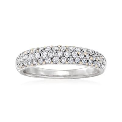 C. 1980 Vintage .65 ct. t.w. Diamond Three-Row Ring in 14kt Yellow Gold