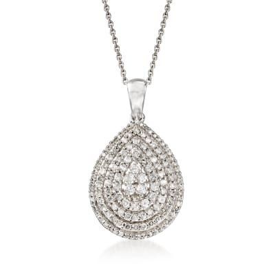 1.00 ct. t.w. Diamond Cluster Pear-Shaped Pendant Necklace in Sterling Silver