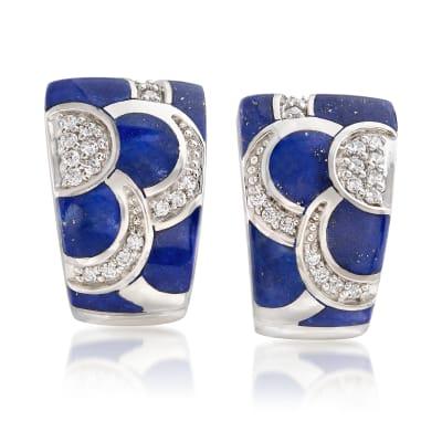"Belle Etoile ""Adina"" Lapis and .35 ct. t.w. CZ Hoop Earrings in Sterling Silver"