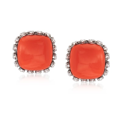 Orange Coral Square Stud Earrings in Sterling Silver