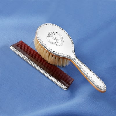 """Gorham """"Chantilly"""" Girl's Sterling Silver Personalized Brush and Comb Set"""