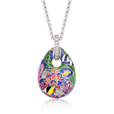 "Belle Etoile ""Seahorse"" Multicolored Enamel and .30 ct. t.w. CZ Pendant in Sterling Silver"