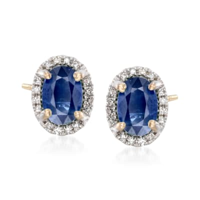 1.20 ct. t.w. Sapphire Stud Earrings with Diamond Accents in 14kt Yellow Gold