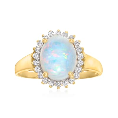 Opal and .21 ct. t.w. Diamond Ring in 14kt Yellow Gold