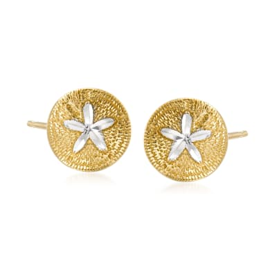14kt Two-Tone Gold Sand Dollar Earrings