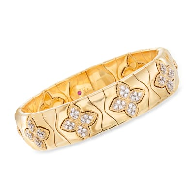 "Roberto Coin ""Princess Flower"" 1.48 ct. t.w. Diamond Cuff Bracelet in 18kt Yellow Gold"