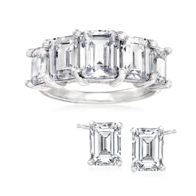 7.85 ct. t.w. Emerald-Cut CZ Jewelry Set: Stud Earrings and Ring in Sterling Silver