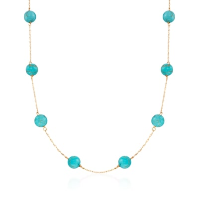 8mm Turquoise Bead Station Necklace in 14kt Yellow Gold