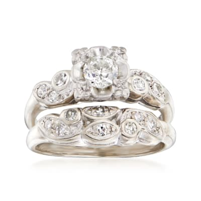 C. 1960 Vintage .47 ct. t.w. Diamond Bridal Set: Engagement and Wedding Rings in 14kt White Gold