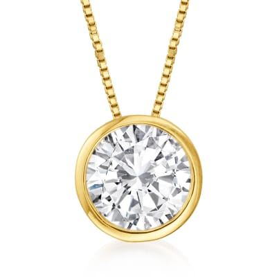 1.20 Carat Bezel-Set Diamond Solitaire Pendant Necklace in 14kt Yellow Gold