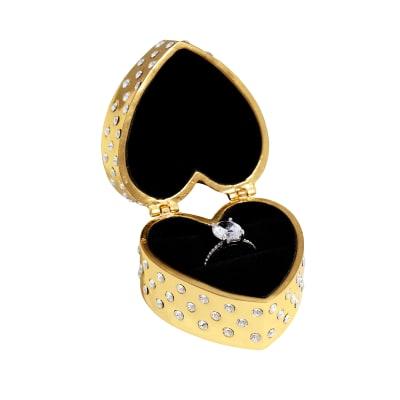 "Crystamas ""Forever Love"" Swarovski Crystal Goldtone Heart-Shaped Ring Box"