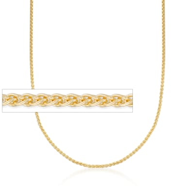 2mm 14kt Yellow Gold Round Wheat Chain Necklace