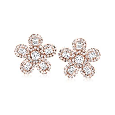 1.60 ct. t.w. CZ Flower Earrings in 18kt Rose Gold Over Sterling