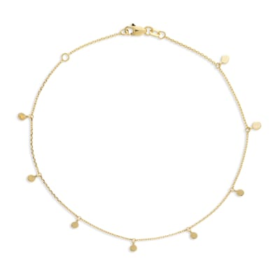 14kt Yellow Gold Dangle Disc Anklet