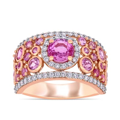 1.42 ct. t.w. Pink Sapphire and .54 ct. t.w. Diamond Ring in 14kt Rose Gold