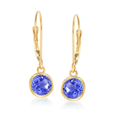 1.50 ct. t.w. Tanzanite Drop Earrings in 14kt Yellow Gold