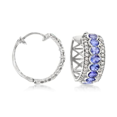 3.00 ct. t.w. Tanzanite and .60 ct. t.w. White Zircon Hoop Earrings in Sterling Silver