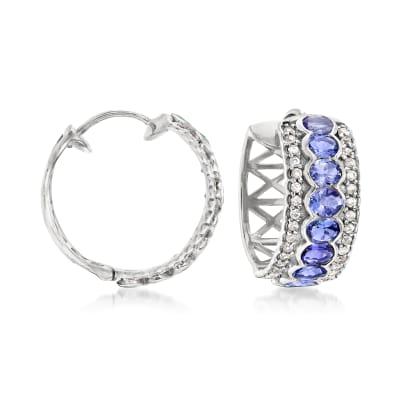 3.00 ct. t.w. Tanzanite and .60 ct. t.w. White Zircon Hoop Earrings in Sterling Silver