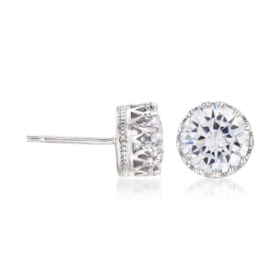 3.80 ct. t.w. CZ Round Crown Stud Earrings in Sterling Silver