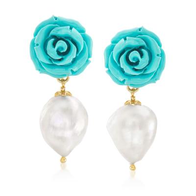 Italian 16x12mm Cultured Baroque Pearl and Turquoise Flower Drop Earrings in 18kt Gold Over Sterling