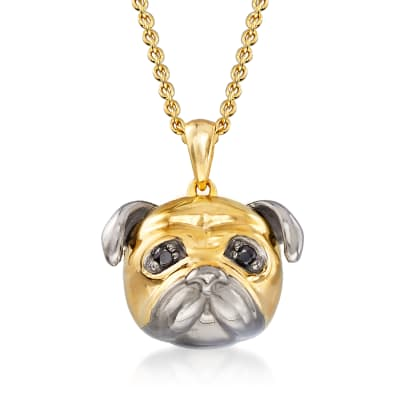 18kt Gold Over Sterling Pug Pendant Necklace with Black Spinel Accents