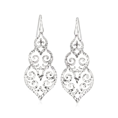 Italian Sterling Silver Filigree Drop Earrings