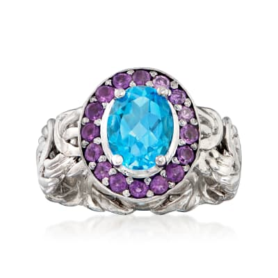 2.20 Carat Swiss Blue Topaz and 1.00 ct. t.w. Amethyst Ring in Sterling Silver
