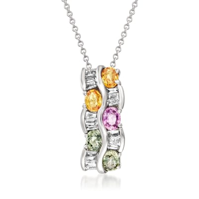 C. 1990 Vintage 1.25 ct. t.w. Multicolored Sapphire and .30 ct. t.w. Diamond Pendant Necklace in 14kt White Gold