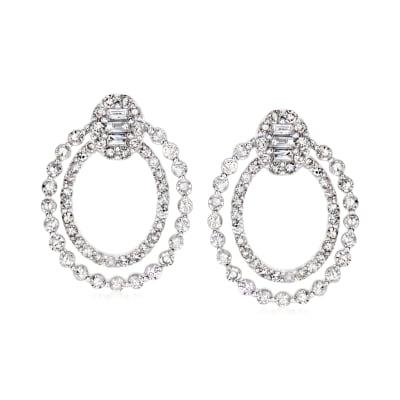 .67 ct. t.w. Diamond Doorknocker Earrings in 14kt White Gold
