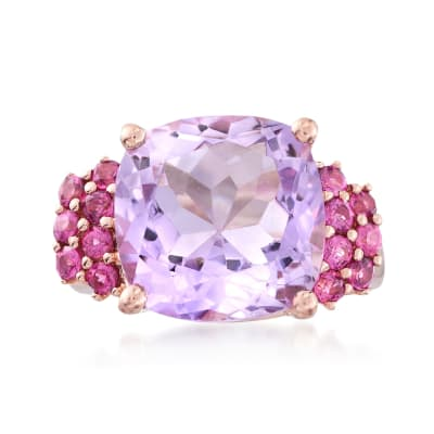 4.90 Carat Amethyst and .60 ct. t.w. Rhodolite Garnet Ring in 18kt Rose Gold Over Sterling