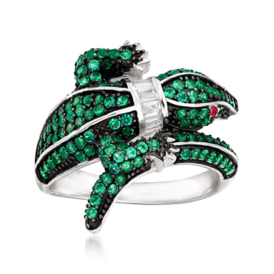1.00 ct. t.w. Green CZ and .10 ct. t.w. White CZ Alligator Ring with Simulated Ruby Accents in Sterling Silver