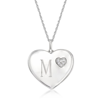 Sterling Silver Single-Initial Heart Pendant Necklace with .10 ct. t.w. Diamonds