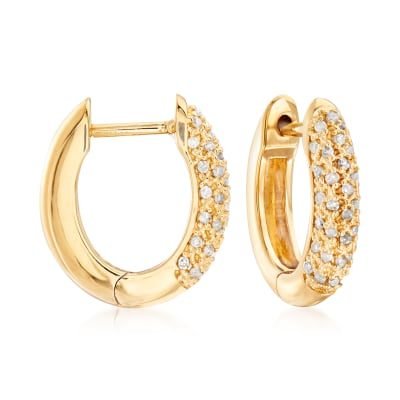 .25 ct. t.w. Pave Diamond Hoop Earrings in 18kt Gold Over Sterling