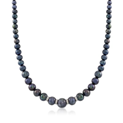 5-11.5mm Graduated Black Cultured Pearl Necklace with .24 ct. t.w. Diamonds and Sterling Silver