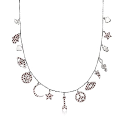 .70 ct. t.w. Garnet Multi-Charm Symbol Necklace in Sterling Silver