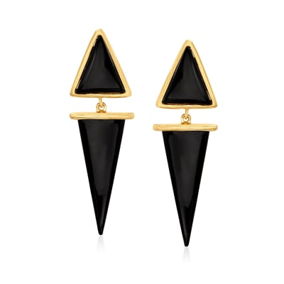 Black Onyx Drop Earrings in 18kt Gold Over Sterling