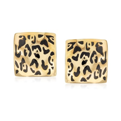 Italian Black Enamel Leopard-Print Earrings in 14kt Yellow Gold