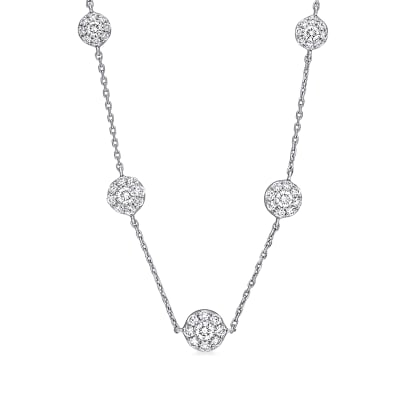 2.28 ct. t.w. Diamond Cluster Station Necklace in 18kt White Gold