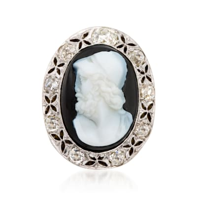 C. 1960 Vintage Agate Roman Warrior Cameo with 1.90 ct. t.w. Diamonds in Platinum and 14kt Yellow Gold