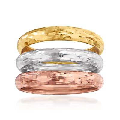 Italian 14kt Tri-Colored Gold Jewelry Set: Three Diamond-Cut Rings