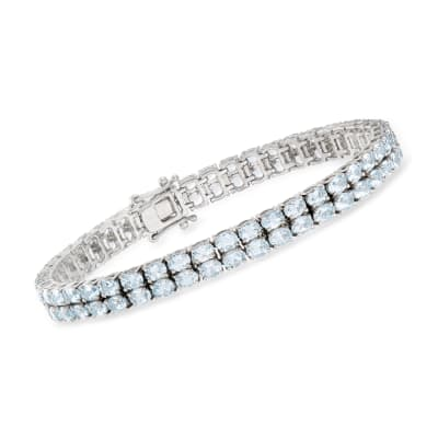 13.00 ct. t.w. Aquamarine Two-Row Tennis Bracelet in Sterling Silver