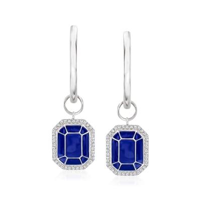 .20 ct. t.w. Diamond and Blue Enamel Hoop Drop Earrings in Sterling Silver