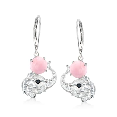Pink Opal Elephant Drop Earrings in Sterling Silver