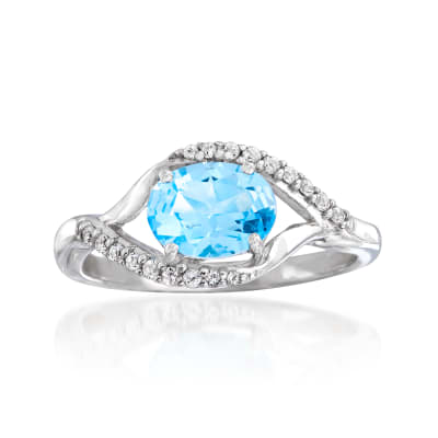 1.20 ct. t.w. Blue and White Swarovski Topaz Ring in Sterling Silver